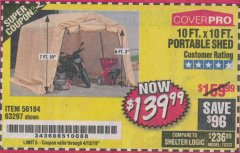 Harbor Freight Coupon COVERPRO 10 FT. X 10 FT. PORTABLE SHED Lot No. 63297 Expired: 4/13/19 - $139.99