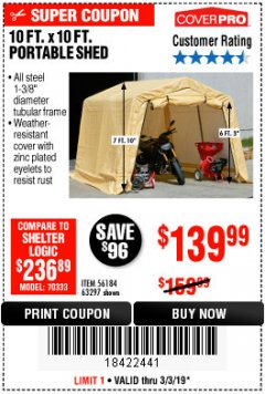 Harbor Freight Coupon COVERPRO 10 FT. X 10 FT. PORTABLE SHED Lot No. 63297 Expired: 3/3/19 - $139.99