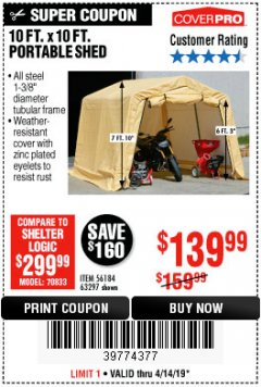 Harbor Freight Coupon COVERPRO 10 FT. X 10 FT. PORTABLE SHED Lot No. 63297 Expired: 4/14/19 - $139.99
