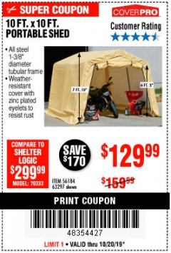 Harbor Freight Coupon COVERPRO 10 FT. X 10 FT. PORTABLE SHED Lot No. 63297 Expired: 10/20/19 - $129.99
