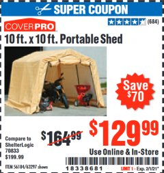Harbor Freight Coupon COVERPRO 10 FT. X 10 FT. PORTABLE SHED Lot No. 63297 Expired: 2/1/21 - $129.99
