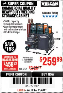 Harbor Freight Coupon VULCAN COMMERCIAL QUALITY HEAVY DUTY WELDING CABINET Lot No. 63179 Expired: 11/4/18 - $259.99