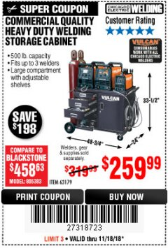 Harbor Freight Coupon VULCAN COMMERCIAL QUALITY HEAVY DUTY WELDING CABINET Lot No. 63179 Expired: 11/18/18 - $259.99