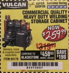 Harbor Freight Coupon VULCAN COMMERCIAL QUALITY HEAVY DUTY WELDING CABINET Lot No. 63179 Expired: 2/26/19 - $259.99