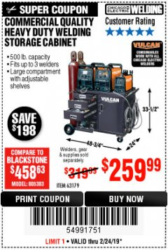 Harbor Freight Coupon VULCAN COMMERCIAL QUALITY HEAVY DUTY WELDING CABINET Lot No. 63179 Expired: 2/24/19 - $259.99