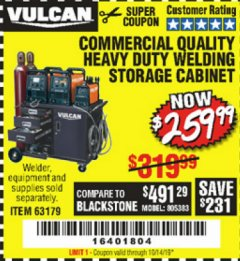 Harbor Freight Coupon VULCAN COMMERCIAL QUALITY HEAVY DUTY WELDING CABINET Lot No. 63179 Expired: 10/14/19 - $259.99