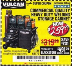 Harbor Freight Coupon VULCAN COMMERCIAL QUALITY HEAVY DUTY WELDING CABINET Lot No. 63179 Expired: 11/2/19 - $259.99