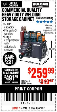 Harbor Freight Coupon VULCAN COMMERCIAL QUALITY HEAVY DUTY WELDING CABINET Lot No. 63179 Expired: 8/4/19 - $259.99