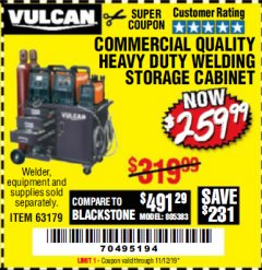 Harbor Freight Coupon VULCAN COMMERCIAL QUALITY HEAVY DUTY WELDING CABINET Lot No. 63179 Expired: 11/12/19 - $259.99