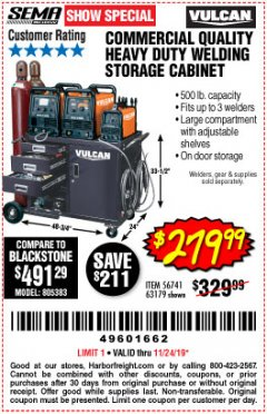 Harbor Freight Coupon VULCAN COMMERCIAL QUALITY HEAVY DUTY WELDING CABINET Lot No. 63179 Expired: 11/24/19 - $279.99