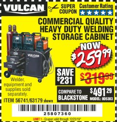 Harbor Freight Coupon VULCAN COMMERCIAL QUALITY HEAVY DUTY WELDING CABINET Lot No. 63179 Expired: 12/23/19 - $259.99