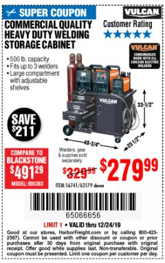 Harbor Freight Coupon VULCAN COMMERCIAL QUALITY HEAVY DUTY WELDING CABINET Lot No. 63179 Expired: 12/24/19 - $279.99