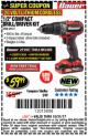 "Harbor Freight Coupon BAUER 20 VOLT CORDLESS 1/2"" COMPACT DRILL/DRIVER KIT Lot No. 63531 Expired: 10/31/17 - $59.99"