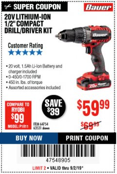 "Harbor Freight Coupon BAUER 20 VOLT CORDLESS 1/2"" COMPACT DRILL/DRIVER KIT Lot No. 63531 Expired: 9/2/19 - $59.99"