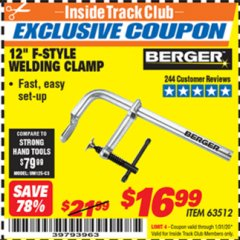 "Harbor Freight ITC Coupon 12"" F-STYLE WELDING CLAMP Lot No. 63512 Expired: 1/31/20 - $16.99"