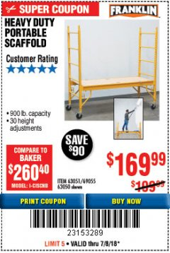 Harbor Freight Coupon HEAVY DUTY PORTABLE SCAFFOLD Lot No. 63050/63051/69055/98979 Expired: 7/8/18 - $169.99