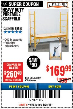 Harbor Freight Coupon HEAVY DUTY PORTABLE SCAFFOLD Lot No. 63050/63051/69055/98979 Expired: 8/26/18 - $169.99