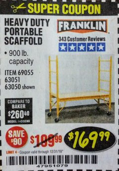 Harbor Freight Coupon HEAVY DUTY PORTABLE SCAFFOLD Lot No. 63050/63051/69055/98979 Expired: 12/31/18 - $169.99