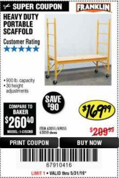 Harbor Freight Coupon HEAVY DUTY PORTABLE SCAFFOLD Lot No. 63050/63051/69055/98979 Expired: 5/31/19 - $169.99