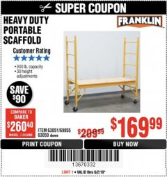 Harbor Freight Coupon HEAVY DUTY PORTABLE SCAFFOLD Lot No. 63050/63051/69055/98979 Expired: 5/2/19 - $1.69