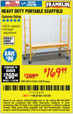 Harbor Freight Coupon HEAVY DUTY PORTABLE SCAFFOLD Lot No. 63050/63051/69055/98979 Expired: 1/31/20 - $169.99