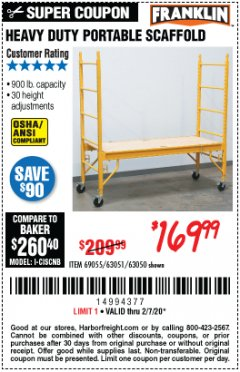 Harbor Freight Coupon HEAVY DUTY PORTABLE SCAFFOLD Lot No. 63050/63051/69055/98979 Expired: 2/7/20 - $169.99