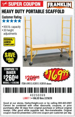 Harbor Freight Coupon HEAVY DUTY PORTABLE SCAFFOLD Lot No. 63050/63051/69055/98979 Expired: 2/29/20 - $169.95