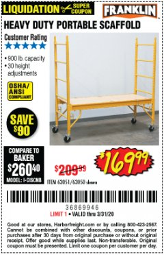 Harbor Freight Coupon HEAVY DUTY PORTABLE SCAFFOLD Lot No. 63050/63051/69055/98979 Valid Thru: 3/31/20 - $169.99