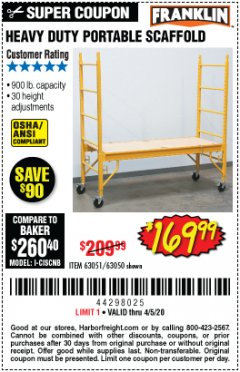 Harbor Freight Coupon HEAVY DUTY PORTABLE SCAFFOLD Lot No. 63050/63051/69055/98979 Valid Thru: 4/5/20 - $169.99
