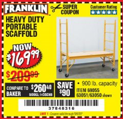 Harbor Freight Coupon HEAVY DUTY PORTABLE SCAFFOLD Lot No. 63050/63051/69055/98979 Valid Thru: 5/6/20 - $169.99