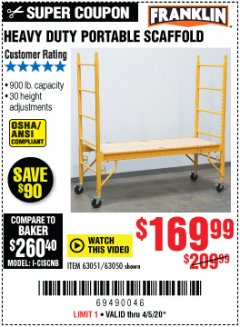 Harbor Freight Coupon HEAVY DUTY PORTABLE SCAFFOLD Lot No. 63050/63051/69055/98979 Valid Thru: 4/5/20 - $169
