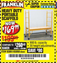 Harbor Freight Coupon HEAVY DUTY PORTABLE SCAFFOLD Lot No. 63050/63051/69055/98979 Expired: 6/21/20 - $169.99