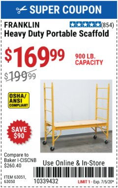 Harbor Freight Coupon HEAVY DUTY PORTABLE SCAFFOLD Lot No. 63050/63051/69055/98979 Expired: 7/5/20 - $169.99