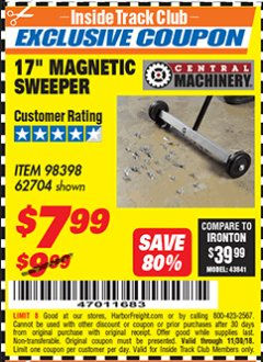 "Harbor Freight ITC Coupon 17"" MINI MAGNETIC SWEEPER Lot No. 62704/98398 Expired: 11/30/18 - $7.99"