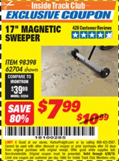 "Harbor Freight ITC Coupon 17"" MINI MAGNETIC SWEEPER Lot No. 62704/98398 Expired: 4/30/19 - $7.99"