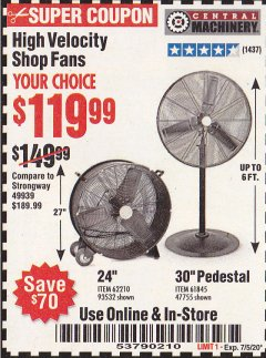Harbor Freight Coupon HIGH VELOCITY SHOP FANS Lot No. 62210, 93532, 61845, 47755 EXPIRES: 7/5/20 - $119.99