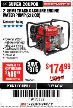 "Harbor Freight Coupon PREDATOR 2"" SEMI-TRASH GASOLINE ENGINE WATER PUMP Lot No. 63405 Expired: 9/23/18 - $174.99"