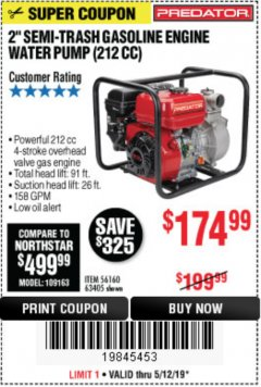 "Harbor Freight Coupon PREDATOR 2"" SEMI-TRASH GASOLINE ENGINE WATER PUMP Lot No. 63405 Expired: 5/12/19 - $174.99"