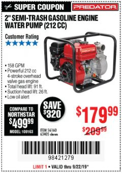 "Harbor Freight Coupon PREDATOR 2"" SEMI-TRASH GASOLINE ENGINE WATER PUMP Lot No. 63405 Expired: 9/22/19 - $179.99"
