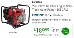 "Harbor Freight Coupon PREDATOR 2"" SEMI-TRASH GASOLINE ENGINE WATER PUMP Lot No. 63405 Expired: 6/30/20 - $189.99"