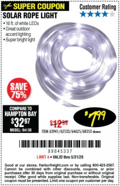 Harbor Freight Coupon SOLAR ROPE LIGHT Lot No. 68353/62533/63941/64625 EXPIRES: 6/30/20 - $7