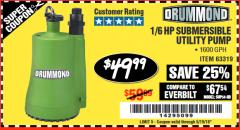 Harbor Freight Coupon 1/6 HP SUBMERSIBLE UTILITY PUMP Lot No. 63319 Expired: 5/19/18 - $49.99