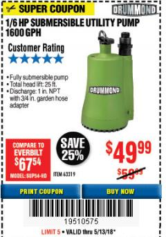 Harbor Freight Coupon 1/6 HP SUBMERSIBLE UTILITY PUMP Lot No. 63319 Expired: 5/13/18 - $49.99