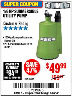 Harbor Freight Coupon 1/6 HP SUBMERSIBLE UTILITY PUMP Lot No. 63319 Expired: 8/20/18 - $49.99