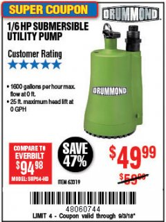 Harbor Freight Coupon 1/6 HP SUBMERSIBLE UTILITY PUMP Lot No. 63319 Expired: 9/3/18 - $49.99