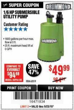 Harbor Freight Coupon 1/6 HP SUBMERSIBLE UTILITY PUMP Lot No. 63319 Expired: 9/23/18 - $49.99