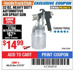 Harbor Freight ITC Coupon 32 OZ. HEAVY DUTY AUTOMATIC AIR SPRAY GUN Lot No. 43760 Expired: 2/12/19 - $14.99