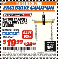 Harbor Freight ITC Coupon 3/4 TON CAPACITY HEAVY DUTY LOAD LEVELER Lot No. 67441 Expired: 7/31/18 - $19.99
