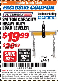 Harbor Freight ITC Coupon 3/4 TON CAPACITY HEAVY DUTY LOAD LEVELER Lot No. 67441 Expired: 11/30/18 - $19.99