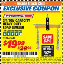 Harbor Freight ITC Coupon 3/4 TON CAPACITY HEAVY DUTY LOAD LEVELER Lot No. 67441 Expired: 3/31/19 - $19.99